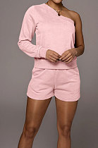 Pink Modest Autumn One Sleeve Oblique Shoulder Top Drawsting Shorts Casual Sets FH157-3