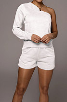 White  Modest Autumn One Sleeve Oblique Shoulder Top Drawsting Shorts Casual Sets FH157-2