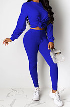 Blue Women Pure Color Long Sleeve Round Collar Fashion Sport Pants Sets AMM8191-4