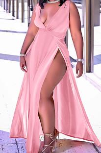 Pink Sexy Wholesal Sleeveless Deep V Neck Personality Slim Fitting Long Dress WA7205-4