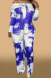 Blue Women Fashion Casual High Waist Long Pants Printing Jumpsuit OMY80050-2