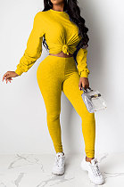 Yellow Women Pure Color Long Sleeve Round Collar Fashion Sport Pants Sets AMM8191-1