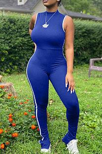 Blue Summer Edge Strip Spliced Sleeveless O Neck Collcet Waist Zip Back Split Sport Jumpsuitts FH159-4
