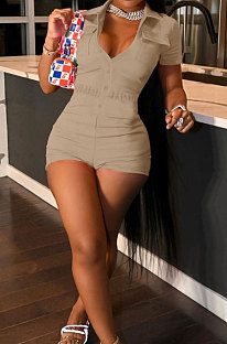 Khaki Wholesal Women Short Sleeve Lapel Neck Single-Breasted With Pocket Elasticband Overall Jumpsuit  FH166-5