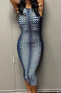 Blue Sleeveless Printing Round Collar Hip Bodycon Skinny Midi Dress JY296613