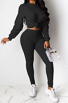 Black Women Pure Color Long Sleeve Round Collar Fashion Sport Pants Sets AMM8191-3