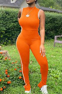 Orange Summer Edge Strip Spliced Sleeveless O Neck Collcet Waist Zip Back Split Sport Jumpsuitts FH159-7