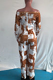 Yellow Women Fashion Casual High Waist Long Pants Printing Jumpsuit OMY80050-1