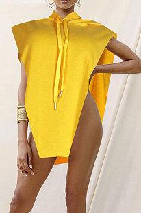 Yellow Women Sexy Hooded Sleeveless Solid Color Fleece Irregular Tops KF300-3
