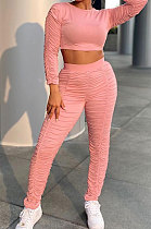 Pink Simple Long Sleeve Round Neck Crop Tops Pencil Pants Pleated Sets P8601