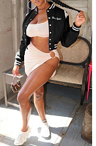 Black Women Embroidered Letters Flannelette Cardigan Keep Warm Short Jacket GL6508-2