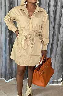 Khaki Simple Autumn Long Sleeve Lapel Neck Single-Breasted With Beltband Shirt Dress BS1285-4