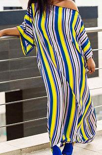 Summer Colorful Stripe Short Sleeve Loose With Beltband Slit Long Dress YSH96242