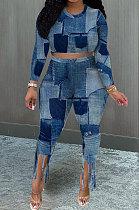 Blue Euramerican Women Fashion Printing Tassel Long Sleeve Pants Sets KKY80049-1