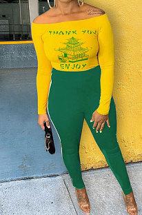 Green Cotton Blend Print A Wrod Shoulder Long Sleeve T-Shirt Sweat Pants Two-Piece LSN7118-2