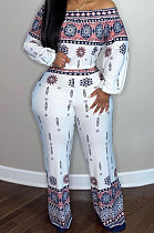 Colorful Positioning Print Long Sleeve Blouse Flare Pnats Two-Piece ZQ8116