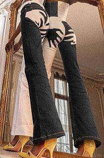 Dark Blue Contrast Color Palm Tight High Waist Spliced Sexy Jeans Pants FLY21444-1