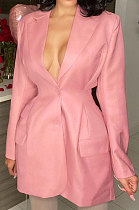 Pink Autumn Turn-DownCollar Single-Breasted Tight Solid Color Small Suit Jacket JZH8083