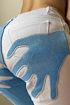 Light Blue Contrast Color Palm Tight High Waist Spliced Sexy Jeans Pants FLY21444-2