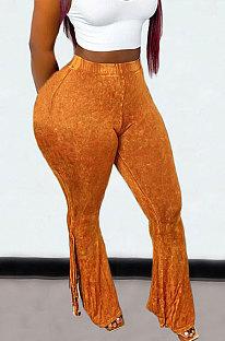 Brown Euramerican Bodycon Tassel Casual Long Pants High Waist TinyFlared Pants KZ2132-4