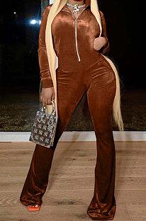 Coffee Wholesale Velvet Long Sleeve Zip Front Hoodie Flare Wide Leg Jumpsuits YX9297-5