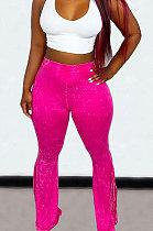 Rose Red Euramerican Bodycon Tassel Casual Long Pants High Waist TinyFlared Pants KZ2132-3