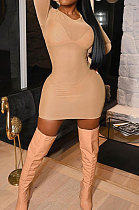 Apricot Sexy Mesh See-Through Long Sleeve Round Collar Solid Color Mini Dress YSH86263-1