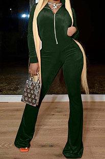 Drak Green Wholesale Velvet Long Sleeve Zip Front Hoodie Flare Wide Leg JumpsuitsYX9297-3