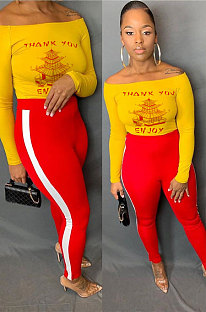 Red Cotton Blend Print A Wrod Shoulder Long Sleeve T-Shirt Sweat Pants Two-Piece LSN7118-1