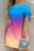 Euramerican Women Casual Fashion Gradient A Word Shoulder Mini Dress BX8888