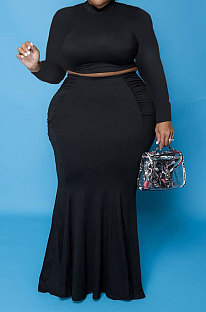 Black Euramerican Autumn Sexy Dew Waist Long Sleeve Stand Collar Pure Color Mid Waist Plus Skirt Sets PH13243-1