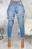 Blue Women Sexy Tight Elastic Force Tassel High Waist Jeans Long Pants SMR2313