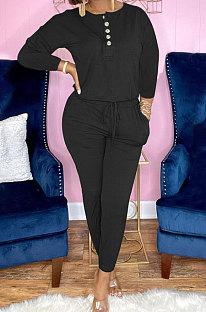 Black Euramerican Women Autumn Fashion Sport Cotton Pure Color Pocket Pants Sets PH1241-1