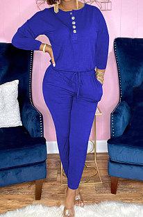 Royal Blue Euramerican Women Autumn Fashion Sport Cotton Pure Color Pocket Pants Sets PH1241-5