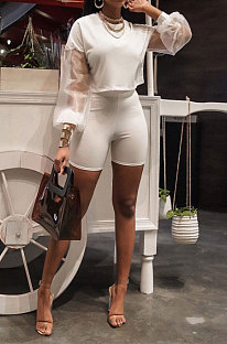 White Euramerican Women Mesh Spaghetti Perspectivity Sleeve Round Collar Pure Color Shorts Sets MA6669-1