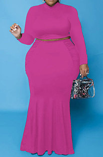 Rose Red Euramerican Autumn Sexy Dew Waist Long Sleeve Stand Collar Pure Color Mid Waist Plus Skirt Sets PH13243-5