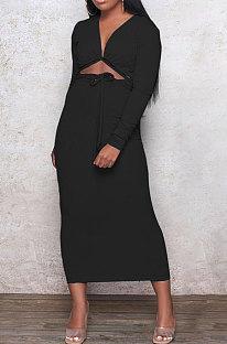 Black Euramerican Women Autumn Sexy Bandage Ribber Long Sleeve Pure Color Long Drees PH1240-5