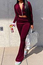 Wine Red Euramerican Women Korea Velvet Hooded Long Sleeve Zipper Solid Color Flare Leg Pants Sets NK264-6