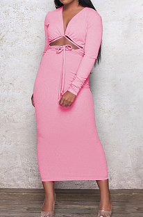 Pink Euramerican Women Autumn Sexy Bandage Ribber Long Sleeve Pure Color Long Drees PH1240-2