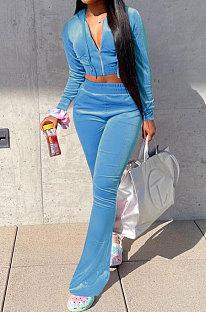 Light Blue Euramerican Women Korea Velvet Hooded Long Sleeve Zipper Solid Color Flare Leg Pants Sets NK264-8