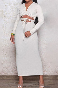 White Euramerican Women Autumn Sexy Bandage Ribber Long Sleeve Pure Color Long Drees PH1240-1