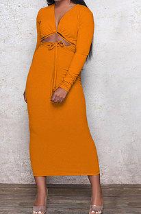 Orange Euramerican Women Autumn Sexy Bandage Ribber Long Sleeve Pure Color Long Drees PH1240-3