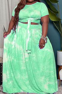Green Euramerican Women Fashion Loose Printing Plus Skirt Sets MA6714 -3