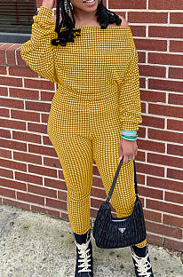 Yellow Women Euramerican Trendy Sexy Autumn Winter  A Word Shoulder Tops Casual Pants Sets MR2119-2