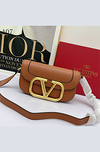 Leather Big Gold Word Mounted Flap Purse