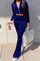 Dark Blue Euramerican Women Korea Velvet Hooded Long Sleeve Zipper Solid Color Flare Leg Pants Sets NK264-7