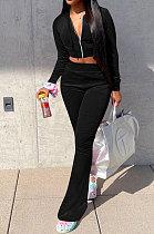 Black Euramerican Women Korea Velvet Hooded Long Sleeve Zipper Solid Color Flare Leg Pants Sets NK264-3