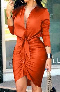 Euramerican Tied Solid Color Long Sleeve Turn-DownCollar Single-Breasted Spliced Mid Waist T Shirt/Shirt Dress CMFS050