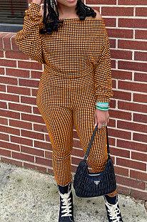 Orange Women Euramerican Trendy Sexy Autumn Winter  A Word Shoulder Tops Casual Pants Sets MR2119-3