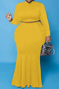 Yellow Euramerican Autumn Sexy Dew Waist Long Sleeve Stand Collar Pure Color Mid Waist Plus Skirt Sets PH13243-3